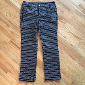 Charter Club straight leg navy patterned jean 16